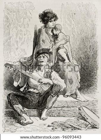 La Conchita: Spanish itinerant dancer. Created by Gustave Dore, published on Le Tour Du Monde, Ed. Hachette, Paris, 1867 - stock photo