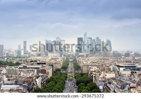 La Defense business area, La Grande Armee avenue. View from Arc de Triomphe. Paris, France - stock photo