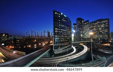 la defense district by night - Paris - stock photo