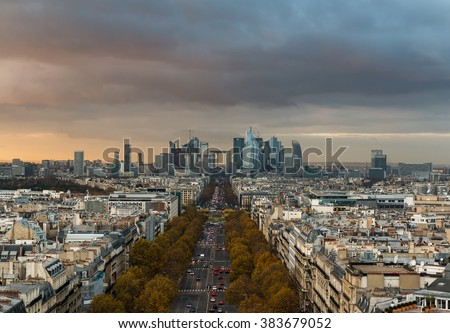 La Defense Financial District Paris France - stock photo