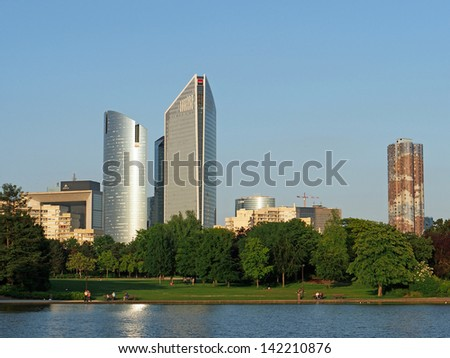 La Defense Skyscrapers seen from Nanterre park, Paris