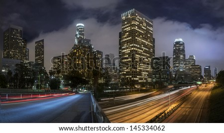 LA downtown at night - Long exposure - stock photo