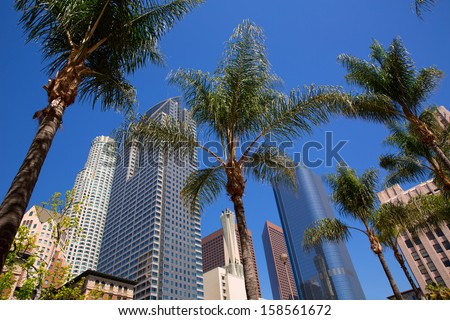 LA Downtown Los Angeles Pershing Square palm tress and skyscrapers - stock photo