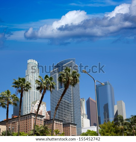 LA Downtown Los Angeles Skyline Pershing Square palm tress and skyscrapers - stock photo