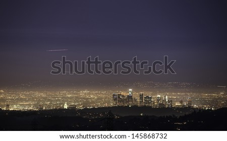 LA Downtown skyline - stock photo
