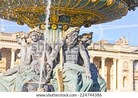 La Fontaine des Fleuves, Place de la Concorde, Paris - stock photo