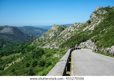 La Huesera, the famous Covadonga cycling ascending stretch road - stock photo
