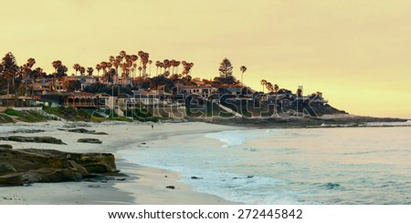 La Jolla Cove beach at San Diego. - stock photo