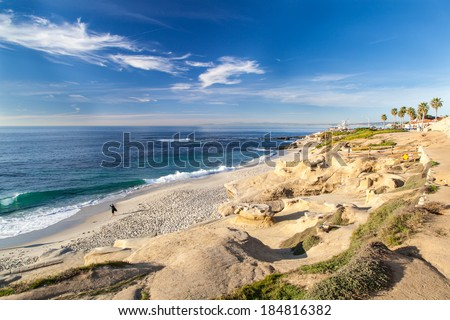 La Jolla cove beach, San Diego, California. - stock photo