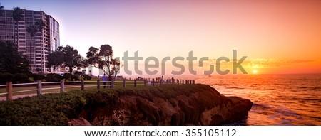 La Jolla sunset panorama.  San Diego California USA. - stock photo