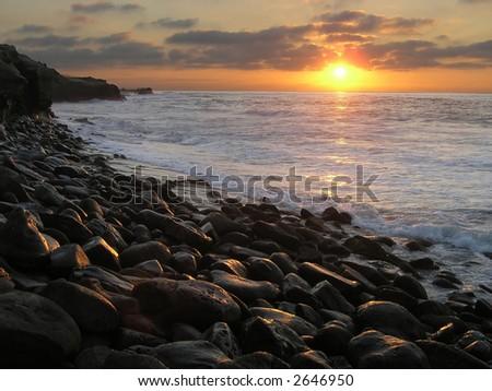 La Jolla Sunset, San Diego, CA - stock photo