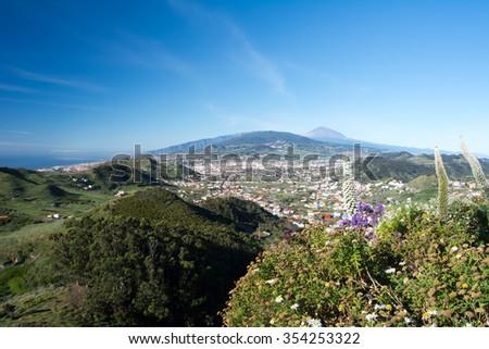 La Laguna and Mountains Anaga in spring, Canary Island - stock photo