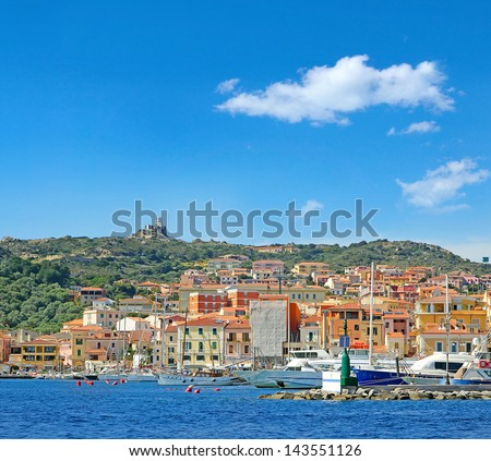 La Maddalena (Gallurese: A Madalena, Sardinian: Sa Madalena) is a town and comune located on the island with the same name, in northern Sardinia, Costa Smeralda, Italy - stock photo