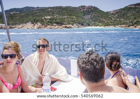 LA MADDALENA, ITALY-JUNE 13, 2015: Boat tours of Arcipelago La Maddalena in La Maddalena, Italy