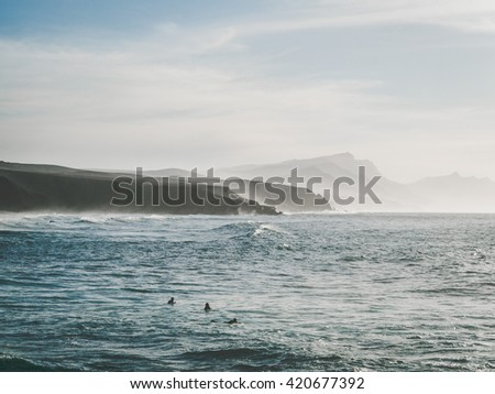 La Pared - surfers beach in sunset, Fuerteventura, Canary Islands