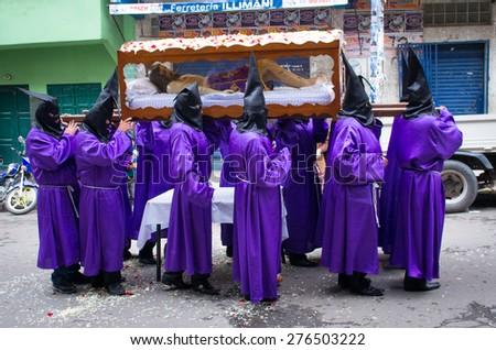 LA PAZ, BOLIVIA - APR 03, 2015:  Good Friday procession in La Paz, Bolivia. - stock photo