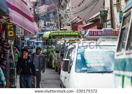 La Paz, Bolivia - Circa March 2015 - Street scene in La Paz - stock photo