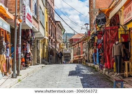 LA PAZ, BOLIVIA Circa March 2015: tourist street in la paz - stock photo
