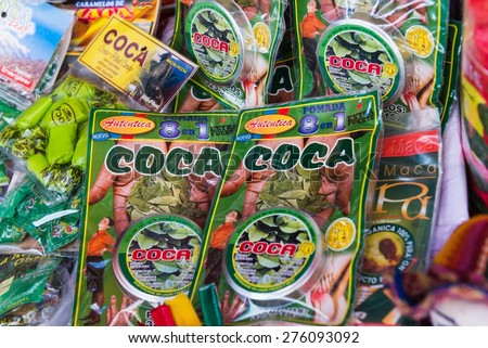 LA PAZ, BOLIVIA March 23, 2015: Coca leafs for sale in La Paz