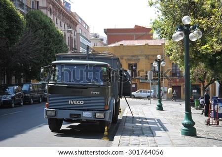 LA PAZ, BOLIVIA - SEPTEMBER 12, 2010:Military vehicle on the street of La Paz. La Paz the actual capital of Bolivia - stock photo