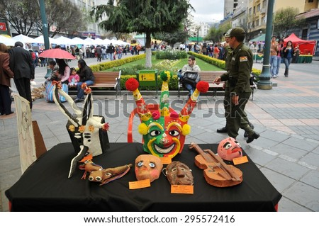 LA PAZ, BOLIVIA - SEPTEMBER 5, 2010:Sculpted masks on the streets of La Paz. The actual capital of Bolivia, where most of the state institutions and the residence of the President of the country. - stock photo
