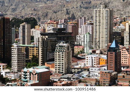La Paz - the governmental capital of Bolivia. The city's building cling to the sides of the canyon and spill spectaculary downwards. The picture present view on the city.