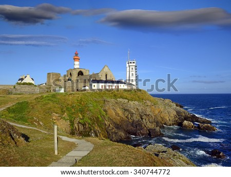 La Pointe Saint-Mathieu - Lighthouses and ruins of a medieval monastery, Brittany, France - stock photo