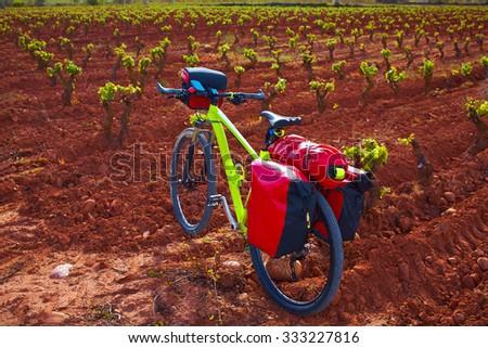 La Rioja vineyard and bike in The Way of Saint James biking - stock photo