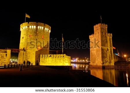 La Rochelle at night - stock photo