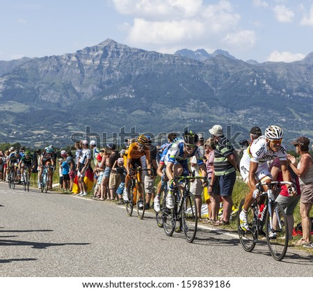 LA ROCHETTE, FRANCE- JUL 16:The Belgian cyclist Philippe Gilbert riding on a plain road after the ascension to Col de Manse during the stage 16 of Le Tour de France on July 16 2013 in La Rochette - stock photo