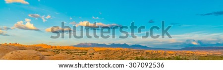 La Sal Mountains with Petrified Dunes, Arches National Park, UT - stock photo
