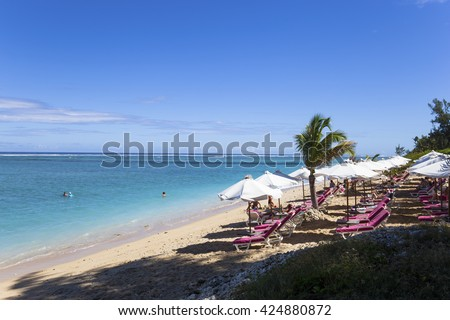 LA SALINE, LA REUNION, FRANCE, MAY 02 :  La Saline beach, La Reunion island, Indian Ocean, may 02, 2016, in Saint Gilles, La Reunion, France