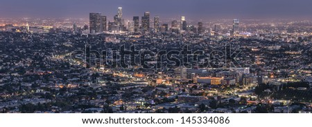 LA skyline at dust - stock photo