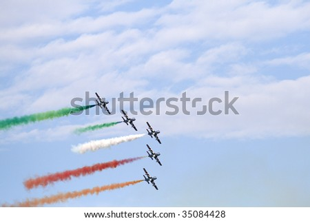 LA SPEZIA, IT - JULY 27: Famous Italian flying team Frecce Tricolori in action during an exhibition at the Gulf of La Spezia July 27, 2008 in Liguria, Italy.