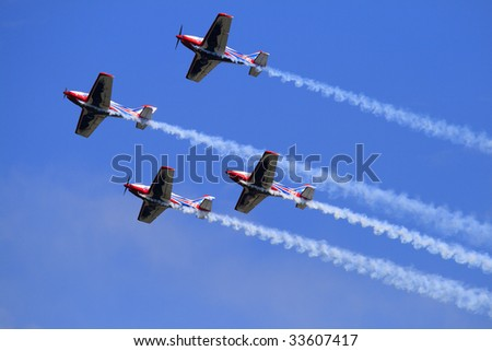 LA SPEZIA, ITALY - JULY 27: Italian flying team in action during an airshow exhibition July 27, 2008 in La Spezia, Italy.