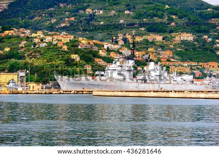 LA SPEZIA, ITALY -MAY 5, 2016: Militar ship at the base in La Spezia, Italy. it is one of the main Italian military harbors of the Italian Navy.