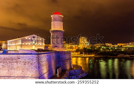 La tour du fanal in the Fort Saint-Jean in Marseille - France - stock photo