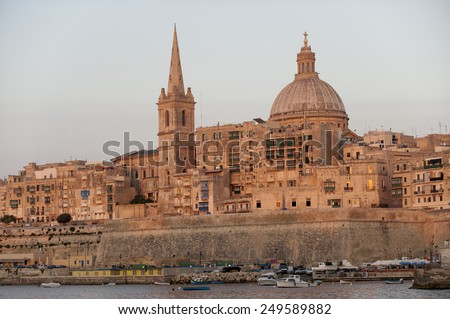 La Valletta landscape at sunset, Malta, Mediterranean, Europe - stock photo