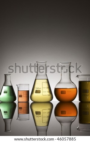 lab equipment with colored liquid