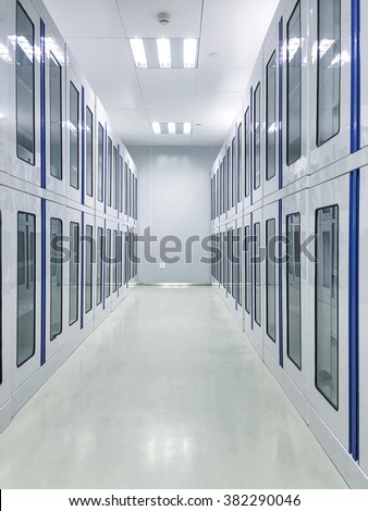 Lab interior with many cabinets - stock photo