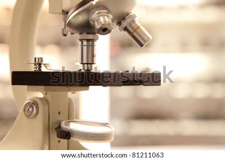 lab microscope, closeup - stock photo