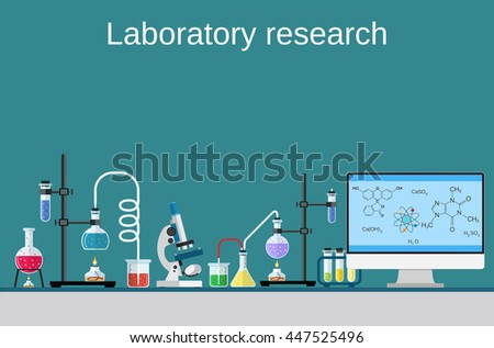Lab worker table computer chemical research process. Pharmaceutical pharmacology science laboratory. Science, education, chemistry, experiment laboratory concept. flat design Raster version