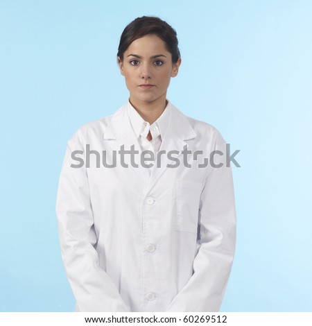 lab worker with coat blue background