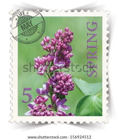 Label for seasonal products ads or calendars stylized as vintage post stamp (May - 5 of 12 set)  - stock photo