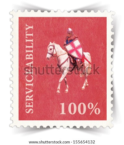 Label for various business advertisements stylized as red vintage post stamp - portrait view  - stock photo