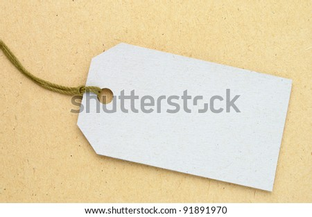 Label from a cardboard on a white background