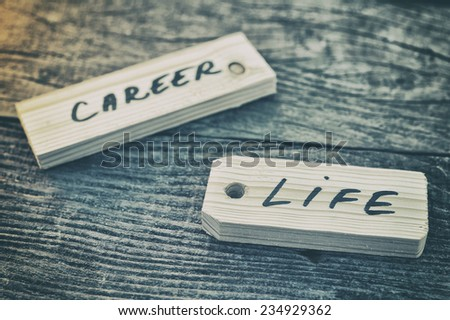 Label. Life or career - stock photo