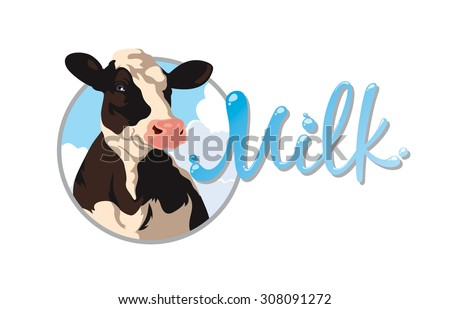 Label with the image of a cow and the words milk - stock photo
