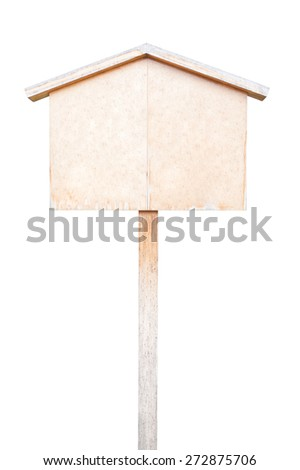 Label wooden with white isolate background - stock photo