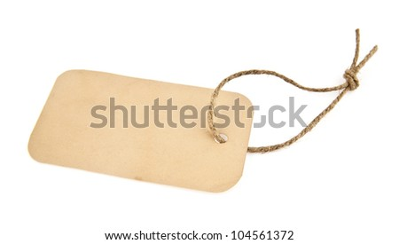 labels from a paper on a white background - stock photo